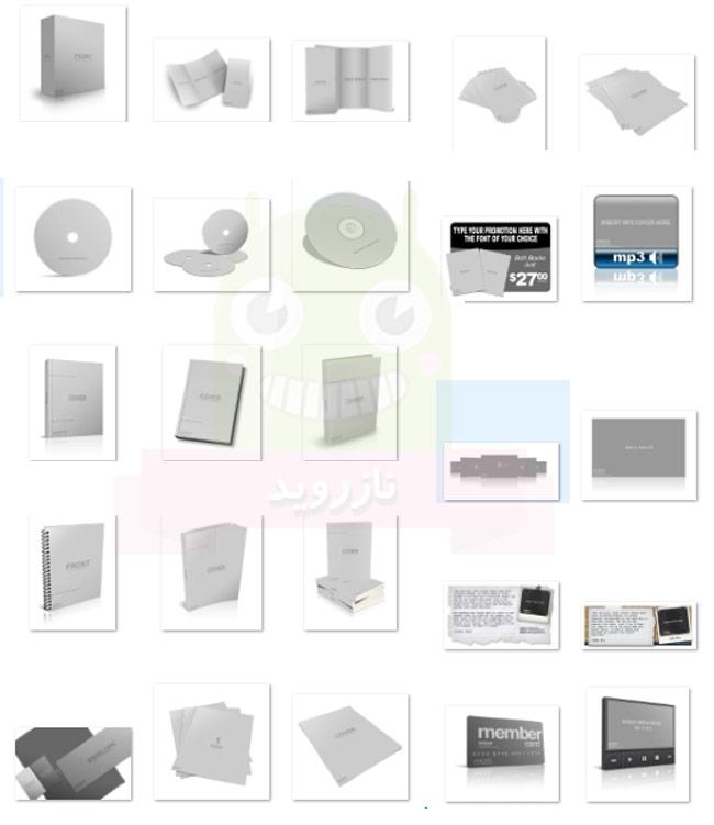 دانلود مجموعه موکاپ و اکشن ساخت بسته بندی محصولات،کتاب،دی وی دی و بروشر